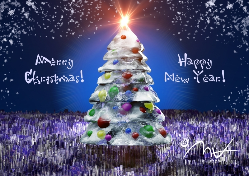 Icy pinetree with text
